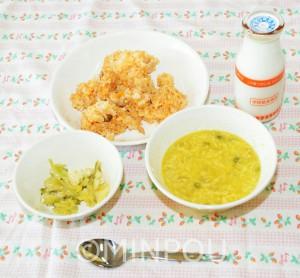 自校調理で栄養価の高い中学校給食を (写真は府内公立中学校の給食)