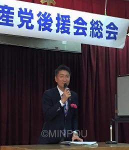 後援会総会で戦争法制を語る清水氏=5月31日、岸和田市内