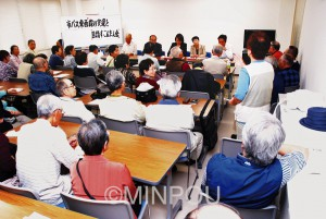東西線復活を求める声にあふれた懇談会=11日、大阪市淀川区内