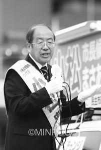 「市民目線のあったか市政へ」と訴える小松市長候補