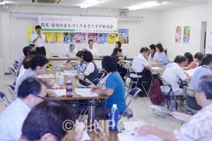 市民の命と暮らしを守る災害に強い大阪をと開かれた学習会=7月、大阪市中央区内