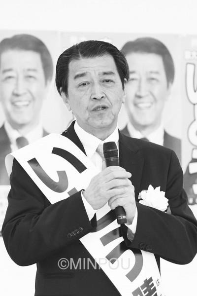 決意を表明する伊藤候補=11日、泉大津市内