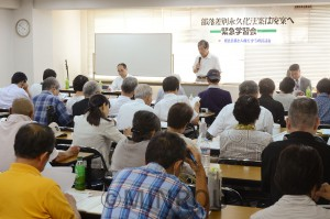 部落差別解消推進法案を廃案にと開かれた学習会=2016年7月、大阪市西区内