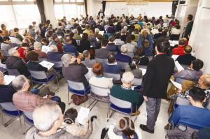 野党統一候補の実現へ200人以上が詰め掛けた「堺からのアピール」のスタート集会=9日、堺市北区内