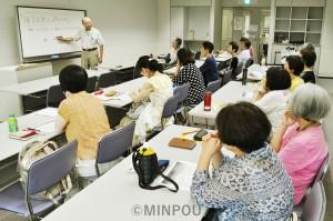 種子法廃止の影響を考えようと開かれた学習会=7月28日、大阪市中央区内