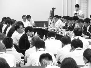 「総合区」素案の説明が行われた第2回法定協=8月29日、府庁内