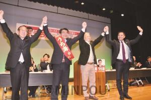 党と後援会の集会で、うち海候補の応援に駆け付けた立憲民主党の村上衆院議員(左端)=11日、東大阪市内