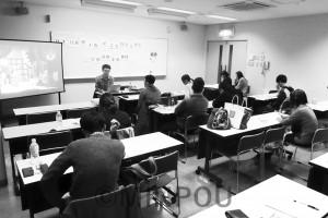 後援会活動を多彩に発展させようと議論し合う二区地区青年後援会のメンバーたち=11日、大阪市平野区内