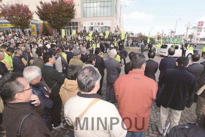 しぎ候補の第一声に800人の市民が集まりました=19日、岸和田市内