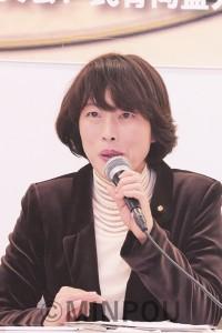 講演する田村参院議員=3日、大阪市中央区内