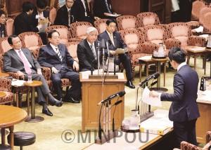 委員会質疑で閣僚を徹底追及するたつみ氏=2015年3月19日