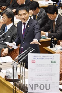 森友疑惑について質問する辰巳孝太郎議員=11月30日、参院予算委