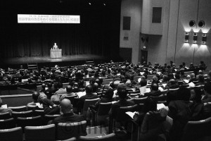 憲法が生きる日本へ安倍改憲阻止へ3千万署名の先頭に立って奮闘しようと呼び掛けた集会=13日、大阪市中央区内