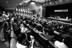 参院選躍進、地方選勝利をと訴えた日本共産党の演説会=4月28日、高槻市内