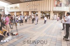 災害とカジノを考えようと行われた緊急街宣=15日、大阪市都島区内