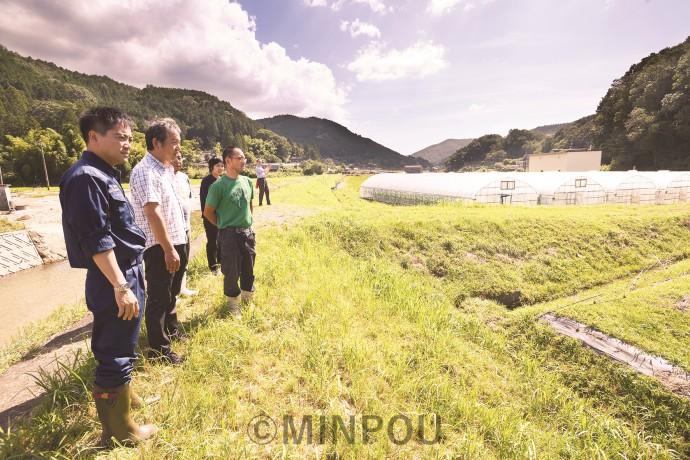堤防が決壊した田尻川(左側)と浸水したビニールハウスなど農地を視察する、たつみ、中西の各氏=10日、能勢町内