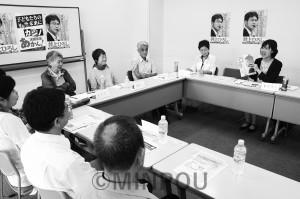 日本共産党清水・遠里小野(おりおの)支部が開いた「集い」=7月8日、大阪市住吉区内