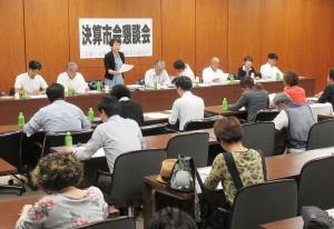 日本共産党大阪市議団が開いた懇談会=10日、大阪市役所内