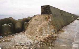 夢洲の対岸にある咲洲でも、台風21号の高潮で防波堤が倒壊(9月21日撮影、日本共産党大阪市議会議員団提供)