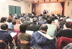 地域医療(住吉市民病院)を充実させる市民の会が開いた緊急報告集会=8日、大阪市住之江区内