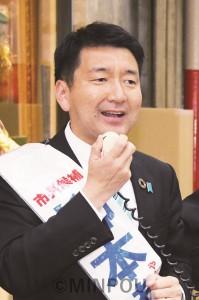 訴える柳本大阪市長候補