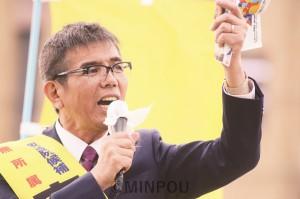 「本気の共闘で新しい希望ある政治を開こう」と訴える宮本たけし候補=13日、寝屋川市内