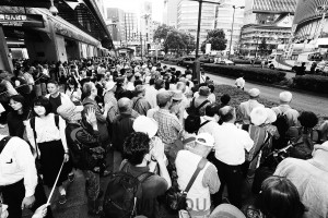 志位委員長を迎えて開かれた日本共産党の街頭演説=5月23日、大阪市中央区内