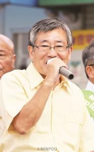 東大阪市政を転換しようと訴える浜正幸候補=16日、東大阪市内