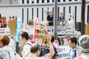 野党の代表と市民運動のメンバーが訴えた共同街宣IN大阪=6日、大阪市北区内
