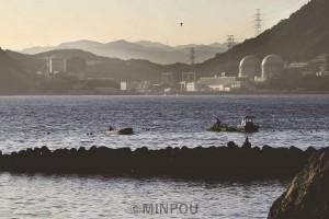 夜明け前、高浜原発の見える入り江で定置網を引く住民=7日、福井県高浜町内