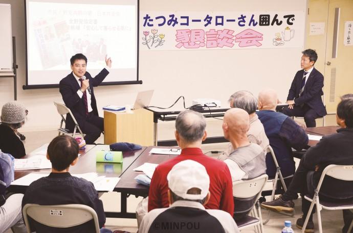 「日本の未来を語る会」で講演する、たつみ前参院議員=10日、堺市西区内