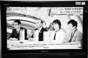 テレビ討論でも大阪市廃止・解体の問題点と共に、各党の立ち位置が浮き彫りに=1月9日(関西テレビから)