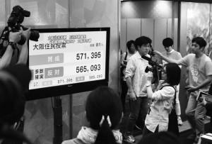 5年前の住民投票当日、維新の会の記者会見場に、NHKニュースの「大阪住民投票 反対多数確実 『都構想』実現せず 大阪市存続」の速報が流れました=2015年5月17日、大阪市北区内