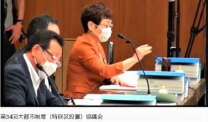 法定協議会で発言する山中智子市議