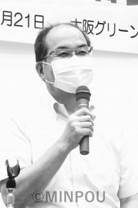 報告する柳府委員長=7月21日、大阪市北区内